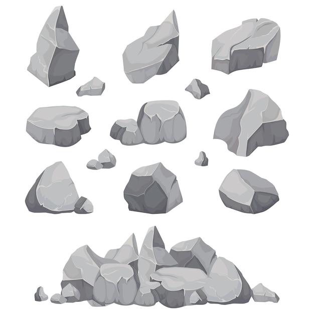 Piedras de roca. pila de piedra de grafito, carbón y rocas aislada Vector Premium