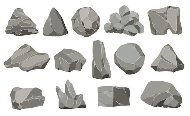 Piedras de roca Vector Premium