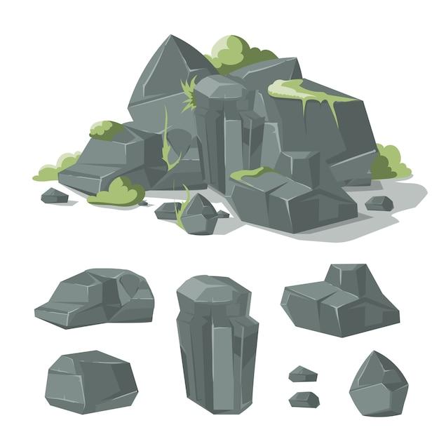 Piedras Y Rocas De Dibujos Animados Naturaleza Roca Con Hierba Y