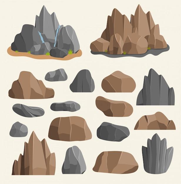 Piedras rocas en estilo de dibujos animados gran edificio pila de minerales. boulder rocas y piedras naturales granito ilustración aproximada rocas y piedras naturaleza boulder geología material de dibujos animados gris Vector Premium