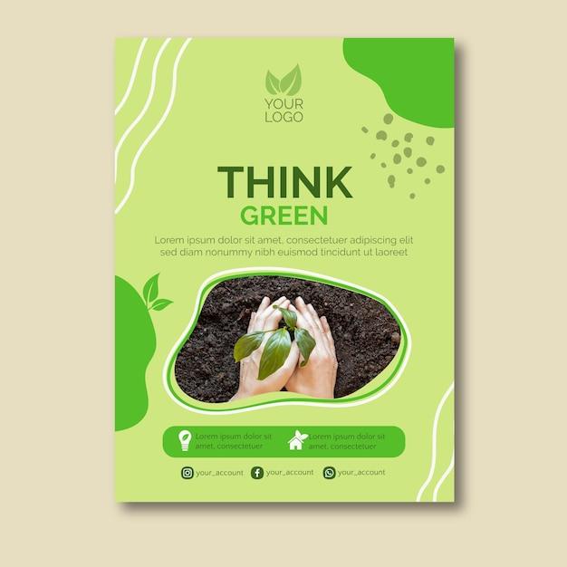 Piensa en un diseño de cartel de concepto verde vector gratuito