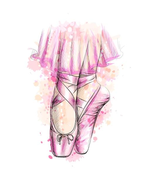 Piernas de bailarina en zapatillas de ballet de un toque de acuarela Vector Premium