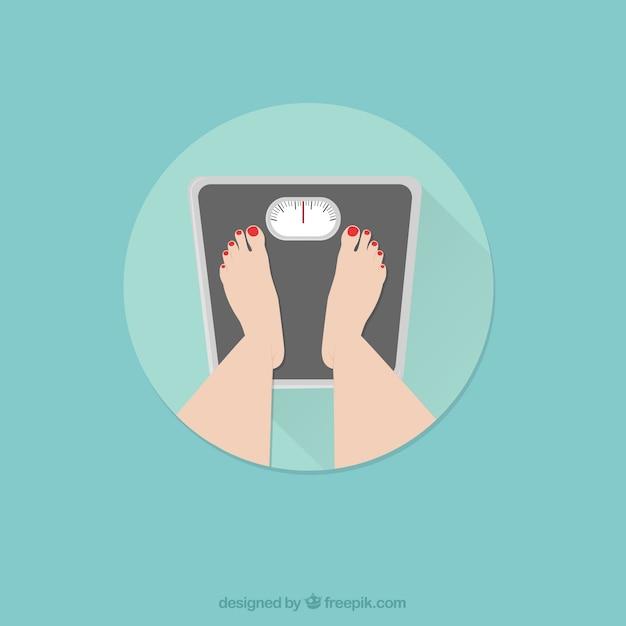 Pies de mujer en pie sobre peso vector gratuito