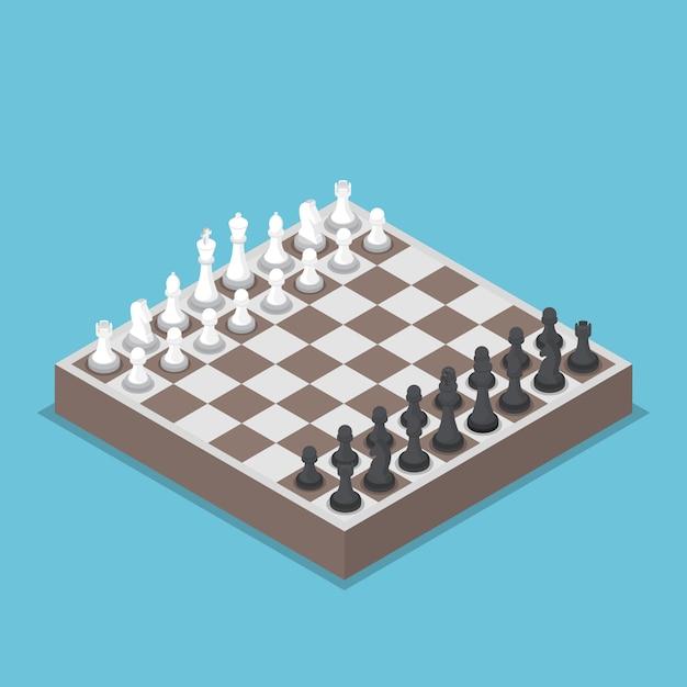 Pieza de ajedrez isométrica o ajedrecistas con tablero Vector Premium