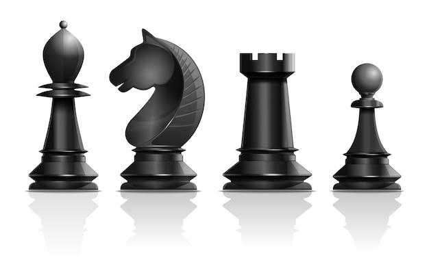 Piezas de ajedrez negras alfil, caballo, torre, peón. juego de piezas de ajedrez. diseño de concepto de ajedrez. ilustración realista aislada sobre fondo blanco Vector Premium