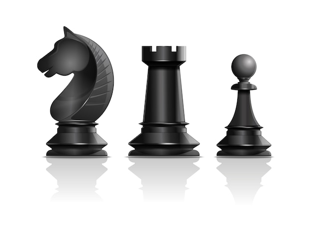 Piezas de ajedrez negras caballero, torre, peón. juego de piezas de ajedrez. Vector Premium