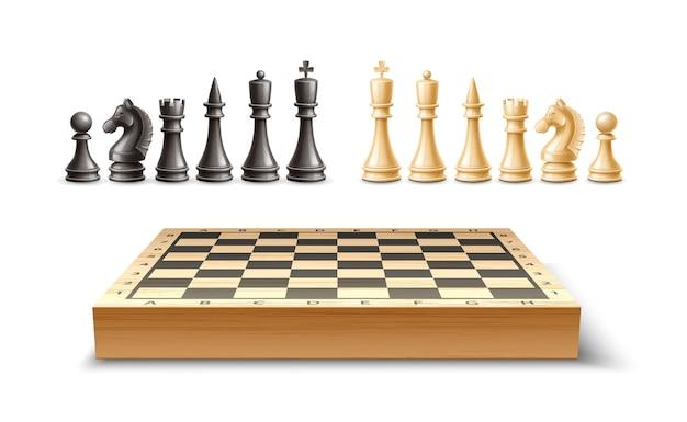 Piezas de ajedrez realistas y juego de tablero de ajedrez. rey, reina alfil y peón torre de caballos figuras de ajedrez en blanco y negro para juego de mesa estratégico. Vector Premium