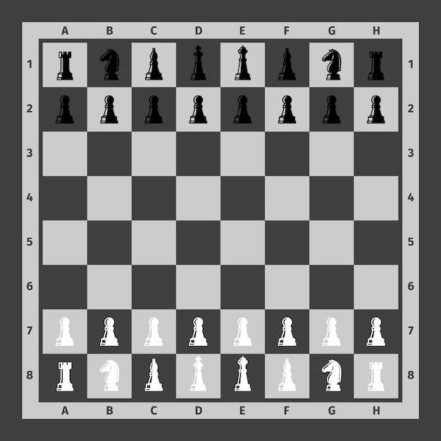 Piezas de ajedrez sobre tablero de ajedrez. Vector Premium