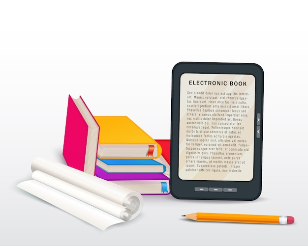 Pila de libros con el ebook, el casquillo de la graduación y el lápiz aislados en blanco Vector Premium