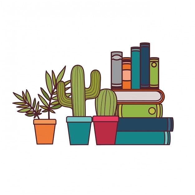 Pila de libros con planta de interior. vector gratuito