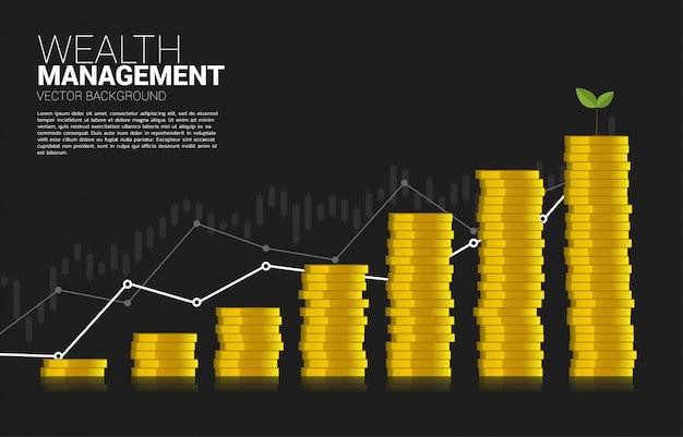 Pila de moneda dólar moneda como gráfico de negocios Vector Premium