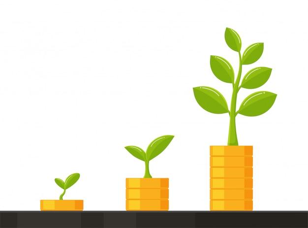 La pila de monedas crece con el árbol de ideas de crecimiento empresarial, ahorrando dinero para el futuro. Vector Premium