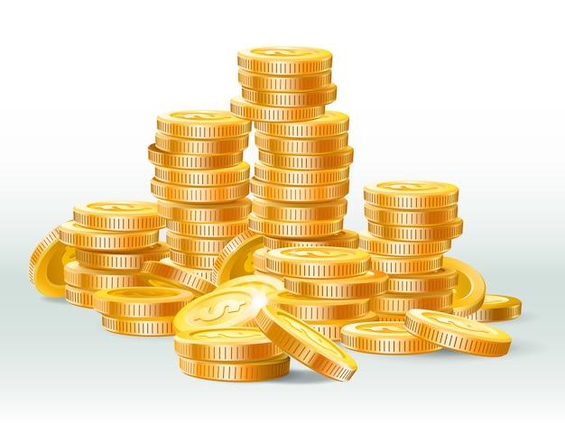 Pila de monedas de oro. ilustración realista de dólar de moneda de oro, pila de dinero y montón de efectivo de oro Vector Premium