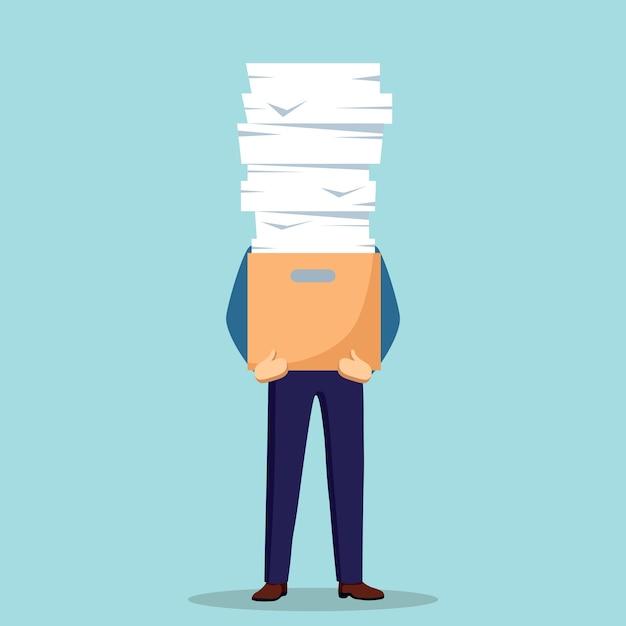 Pila de papel, empresario ocupado con pila de documentos en cartón, caja de cartón. papeleo. concepto de burocracia. empleado estresado. Vector Premium
