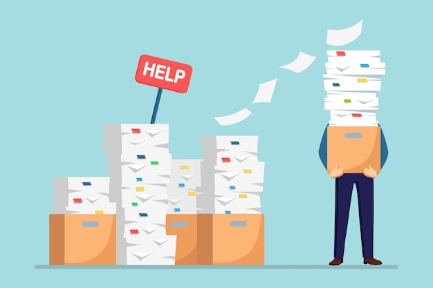 Pila de papel, empresario ocupado con pila de documentos en cartón, caja de cartón, señal de ayuda. papeleo. burocracia . empleado estresado. Vector Premium