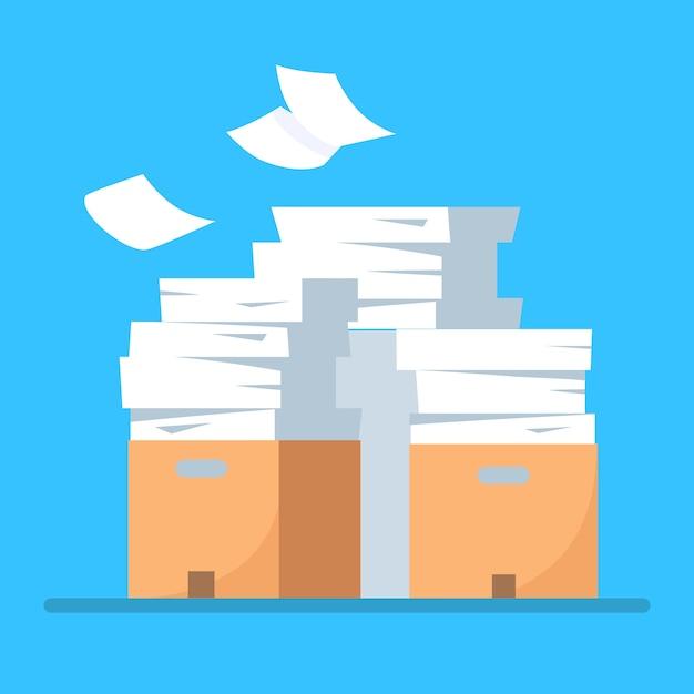 Pila de papel, pila de documentos con cartón, caja de cartón, carpeta. papeleo. concepto de burocracia. Vector Premium