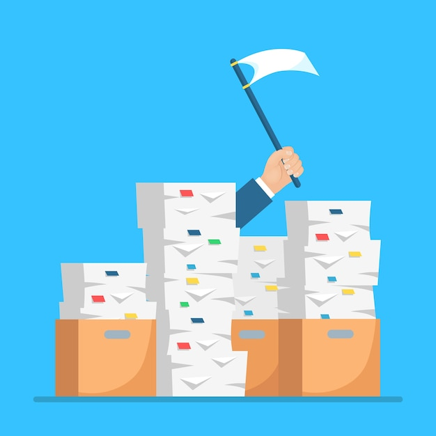 Pila de papel, pila de documentos con cartón, caja de cartón. empleado estresado en montón de papeleo. hombre de negocios ocupado con señal de ayuda, bandera blanca. concepto de burocracia. Vector Premium