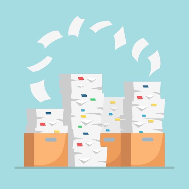 Pila de papel, pila de documentos con cartón, caja de cartón. papeleo. Vector Premium