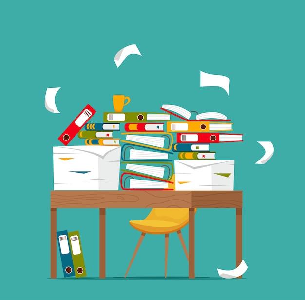 Pila de papeles, documentos y carpetas de archivos en concepto de mesa de oficina. los papeles desordenados desorganizados subrayan, fecha límite, burocracia papeleo duro ilustración de dibujos animados plana. Vector Premium