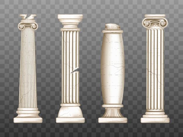 Pilares barrocos, columnas agrietadas del renacimiento romano vector gratuito