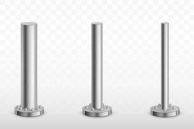 Pilares de poste de metal, tubos de acero zapatas de cilindro vector gratuito