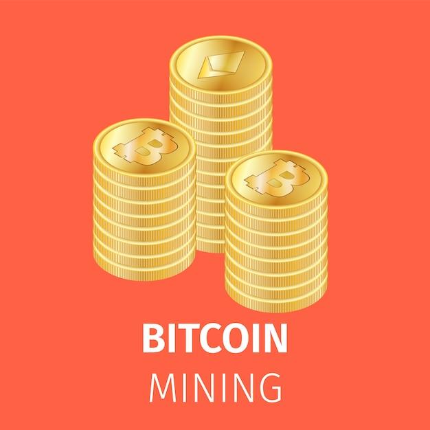 Pilas de monedas de oro de bitcoin vector gratuito
