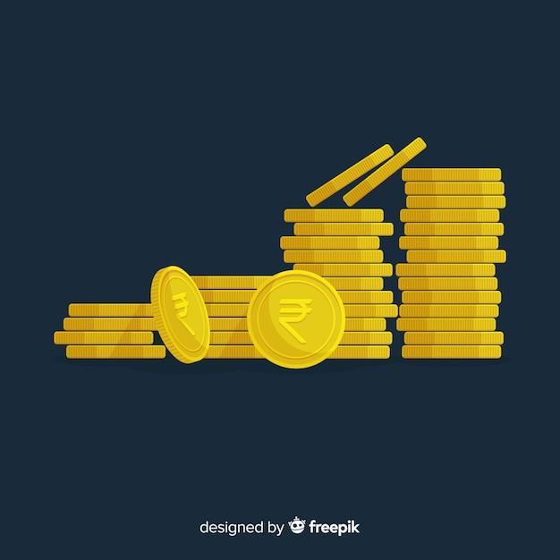 Pilas de rupias indias vector gratuito