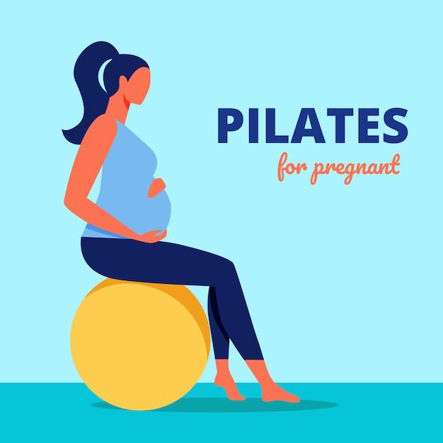 Pilates para embarazadas. mujer se sienta en la bola de gimnasia Vector Premium