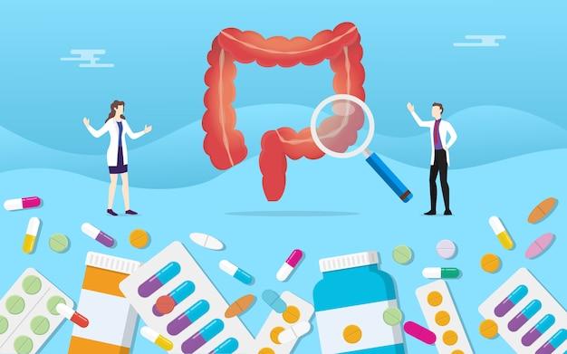 Píldoras de salud medicina de medicina digestiva de colon humano medicamento cápsula tratamiento Vector Premium