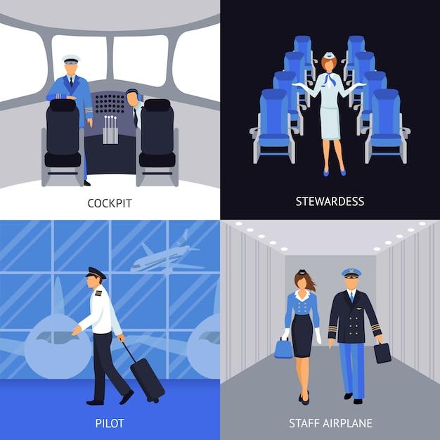 Piloto y azafata 4 iconos planos vector gratuito