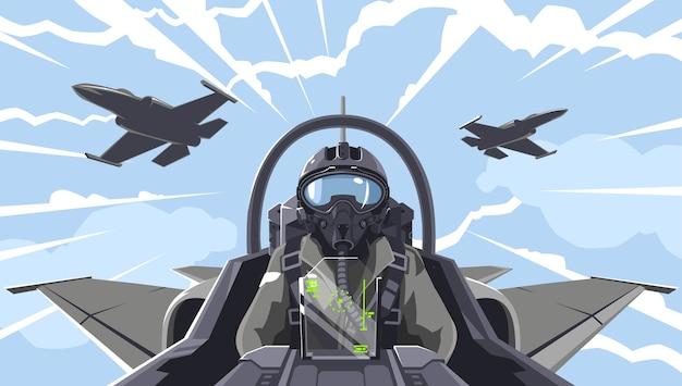 El piloto está en el caza. descripción general de la cabina del avión de combate. equipo acrobático en el aire. un combatiente militar en las nubes. figuras de pilatage superior. el piloto de un avión militar. Vector Premium