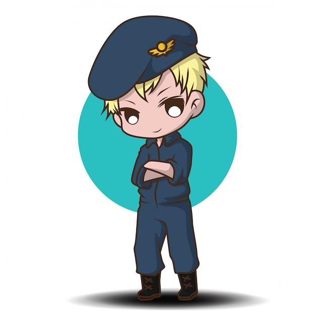 Piloto de la fuerza aérea de dibujos animados lindo Vector Premium