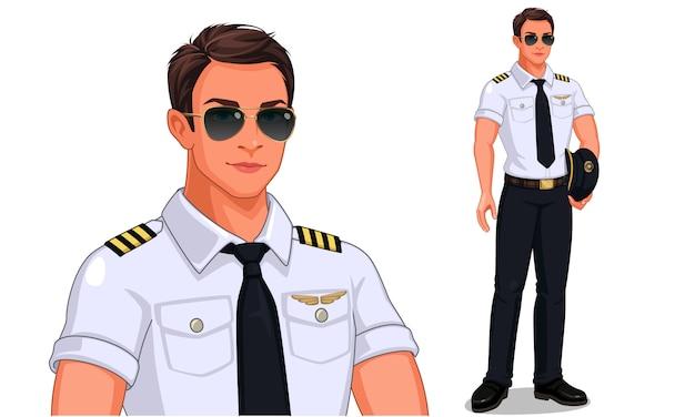 Piloto en posición de pie Vector Premium