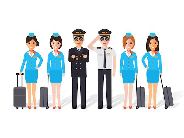 Pilotos y auxiliares de vuelo. Vector Premium