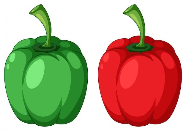 Pimiento verde y rojo Vector Premium