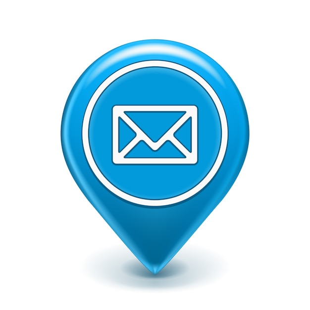 Pin de icono de correo electrónico aislado   Vector Gratis
