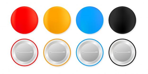 Pin insignias. botón blanco redondo en blanco. maqueta de imán de recuerdo. ilustración. Vector Premium