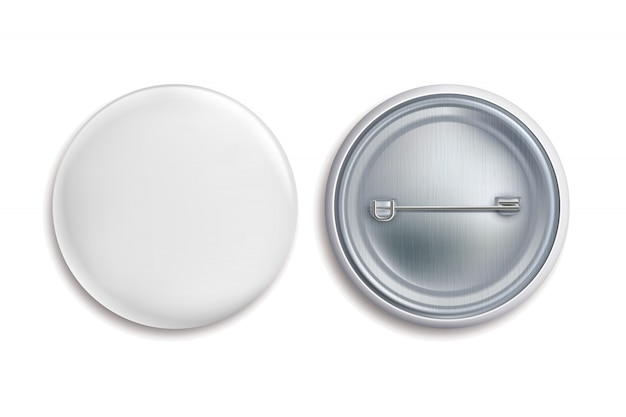 Pin insignias. botón redondo blanco en blanco, anunciar metal 3d círculo signo. maqueta de insignia de recuerdo Vector Premium