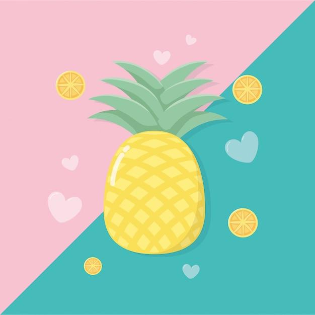 Piña fresca y frutas naranjas Vector Premium