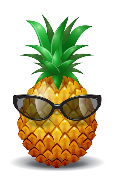 Piña con gafas de sol. jugo de piña, fruta tropical vector gratuito