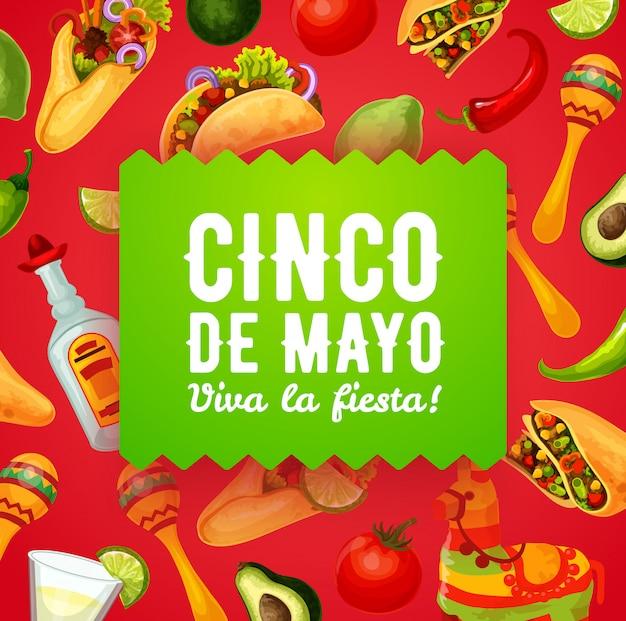 Piñata mexicana, maracas y comida. cinco de mayo Vector Premium