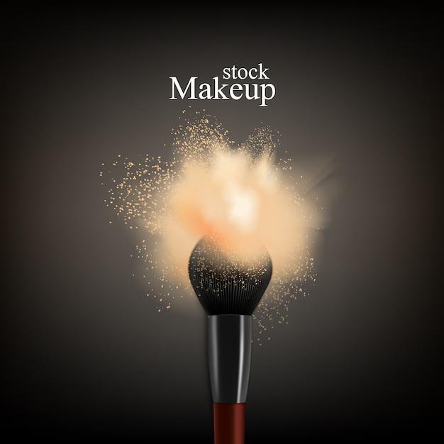 Pincel de maquillaje en polvo vector gratuito