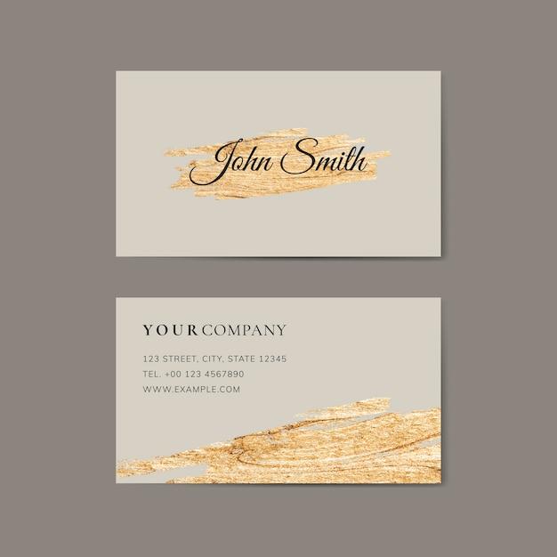 Pincelada de oro en una plantilla de tarjeta de visita Vector Premium