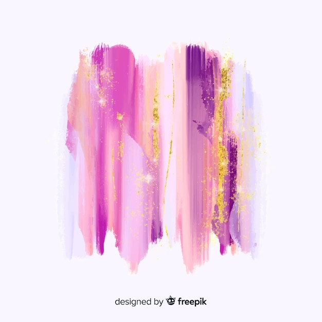 Pinceladas de acuarela con purpurina vector gratuito