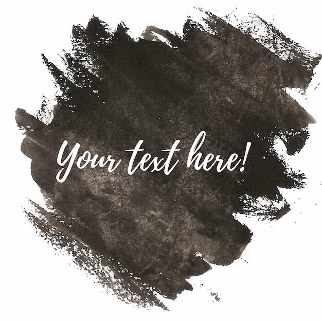 Pinceladas negras de acuarela con plantilla de texto Vector Gratis