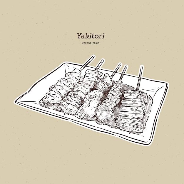 Pinchos yakitori dibujados a mano, comida japonesa Vector Premium