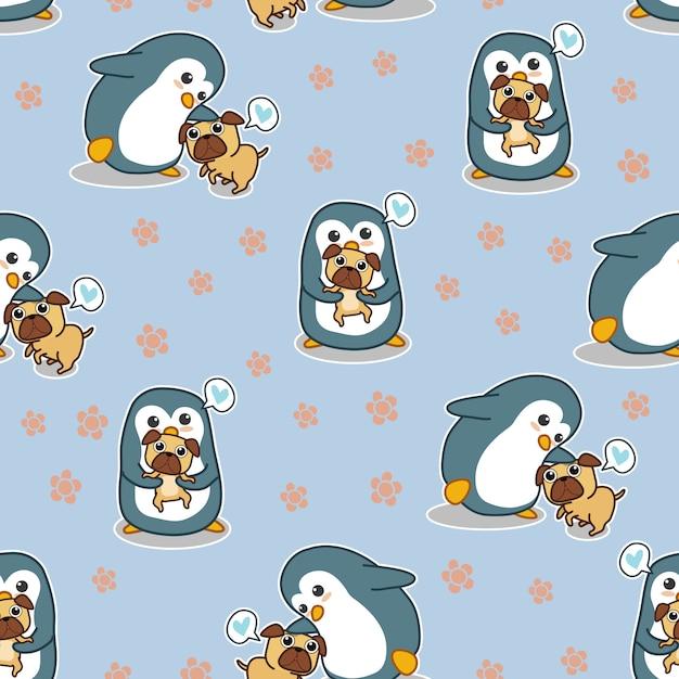 Pingüino inconsútil dice amor patrón de perro pug. Vector Premium
