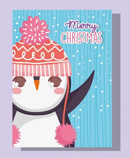 Pingüino lindo feliz feliz navidad Vector Premium