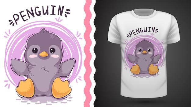 Pingüino lindo, idea para camiseta estampada. Vector Premium
