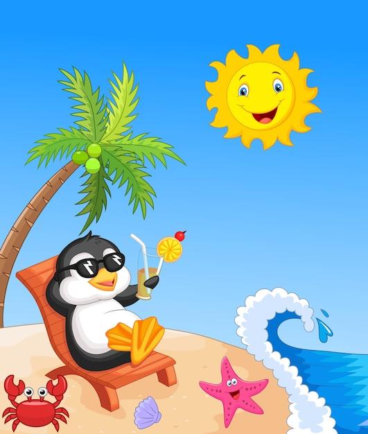 Pingüino lindo sentado en silla de playa Vector Premium